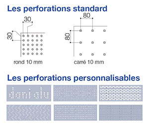 garde-corps aluminium Lotentic décor, types de perforations standards ou personnalisables
